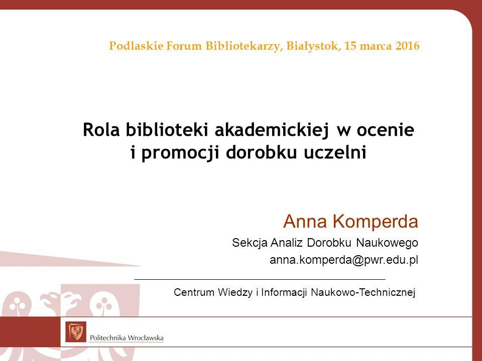 Uniwersytet Białostocki – współpraca wg dziedzin Publikacje 2010-2016
