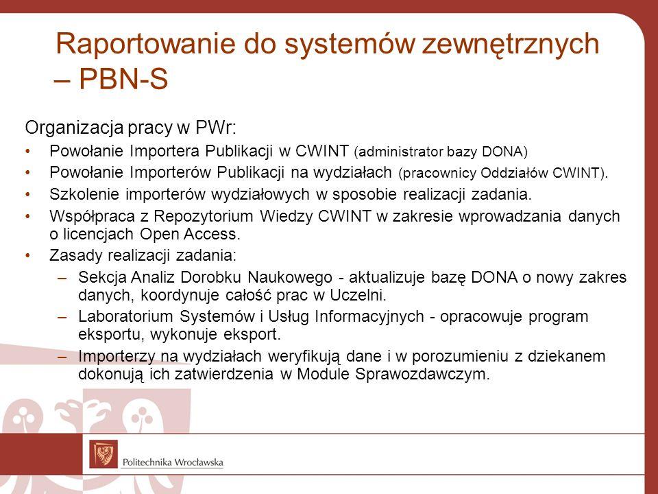 Raportowanie do systemów zewnętrznych – PBN-S Organizacja pracy w PWr: Powołanie Importera Publikacji w CWINT (administrator bazy DONA) Powołanie Importerów Publikacji na wydziałach (pracownicy Oddziałów CWINT).