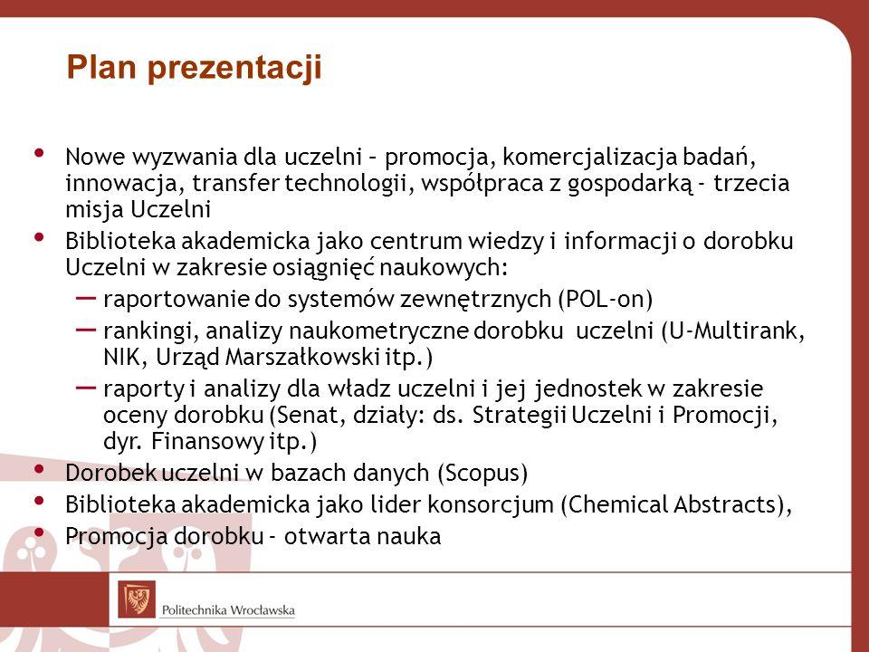 Plan prezentacji Nowe wyzwania dla uczelni – promocja, komercjalizacja badań, innowacja, transfer technologii, współpraca z gospodarką - trzecia misja