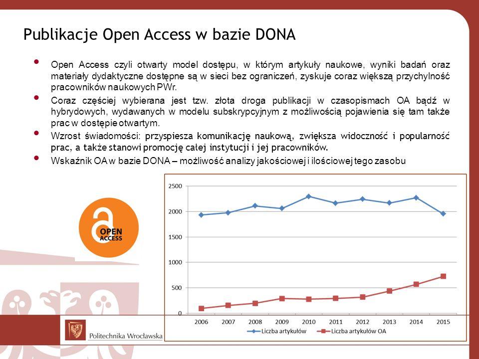 Publikacje Open Access w bazie DONA Open Access czyli otwarty model dostępu, w którym artykuły naukowe, wyniki badań oraz materiały dydaktyczne dostępne są w sieci bez ograniczeń, zyskuje coraz większą przychylność pracowników naukowych PWr.
