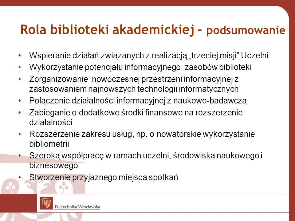 """Rola biblioteki akademickiej - podsumowanie Wspieranie działań związanych z realizacją """"trzeciej misji"""" Uczelni Wykorzystanie potencjału informacyjneg"""