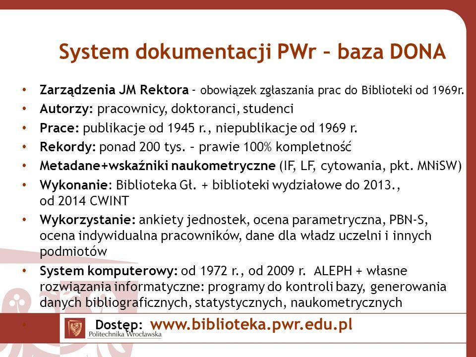 System dokumentacji PWr – baza DONA Zarządzenia JM Rektora - obowiązek zgłaszania prac do Biblioteki od 1969r. Autorzy: pracownicy, doktoranci, studen