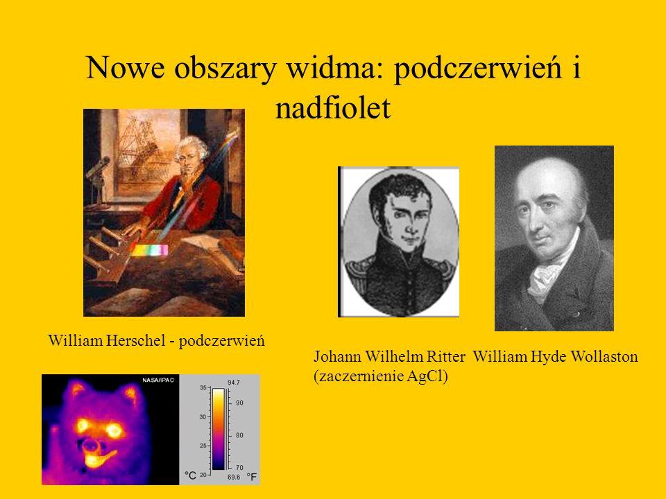 Nowe obszary widma: podczerwień i nadfiolet William Herschel - podczerwień Johann Wilhelm Ritter William Hyde Wollaston (zaczernienie AgCl)