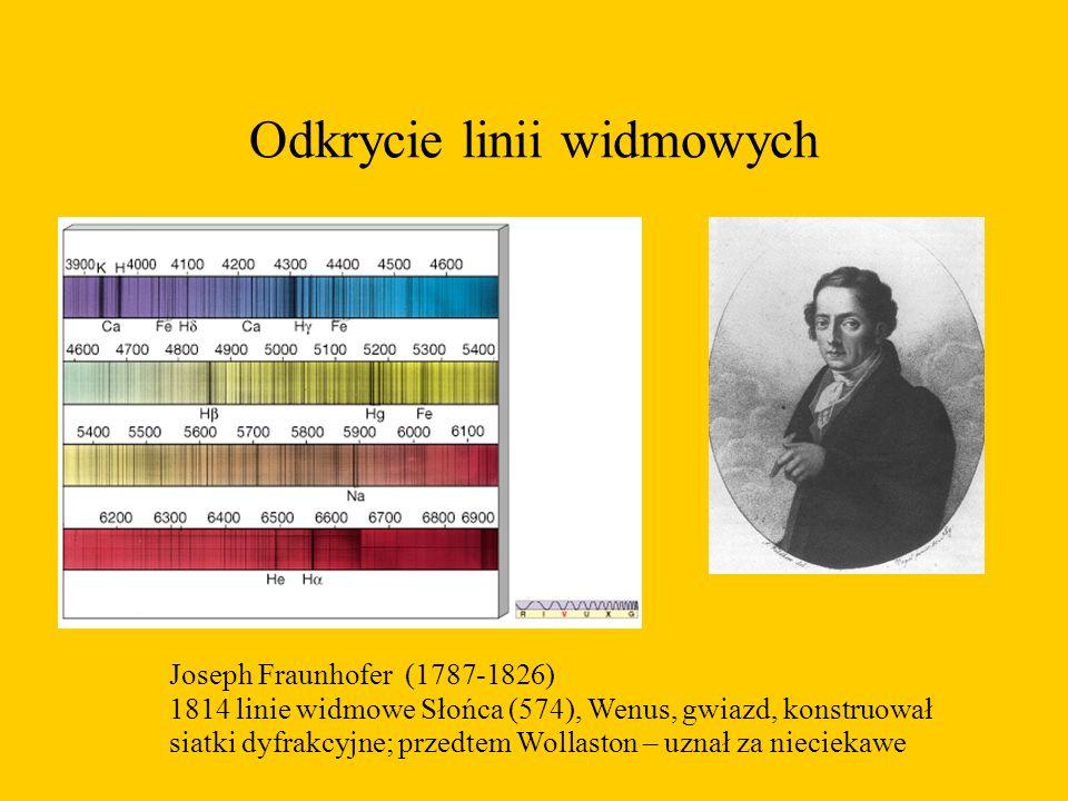 Odkrycie linii widmowych Joseph Fraunhofer (1787-1826) 1814 linie widmowe Słońca (574), Wenus, gwiazd, konstruował siatki dyfrakcyjne; przedtem Wollaston – uznał za nieciekawe