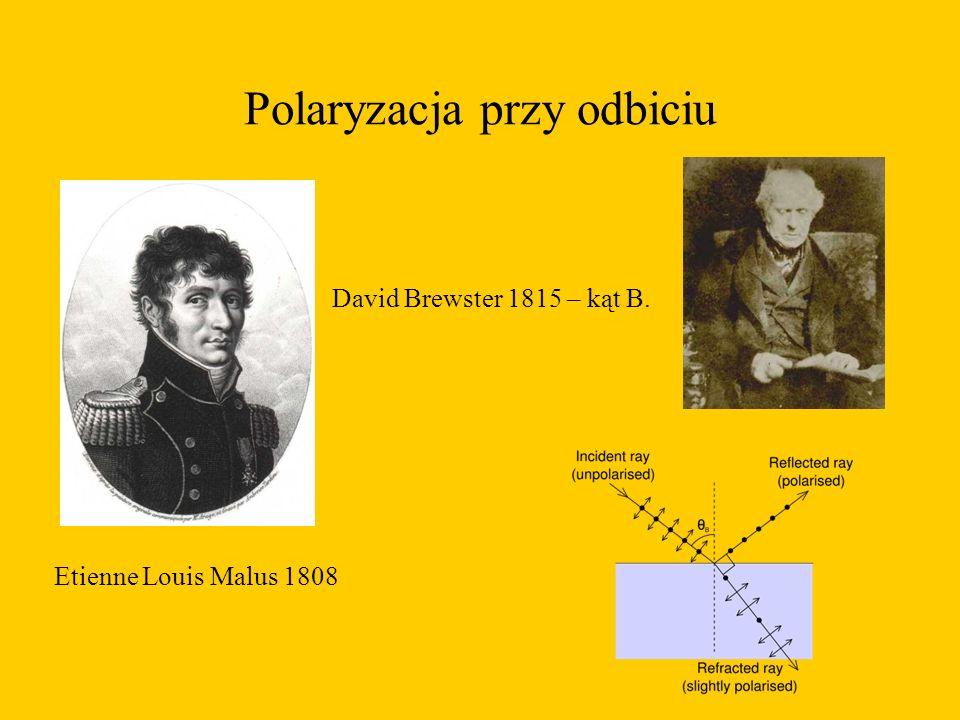 Polaryzacja przy odbiciu Etienne Louis Malus 1808 David Brewster 1815 – kąt B.