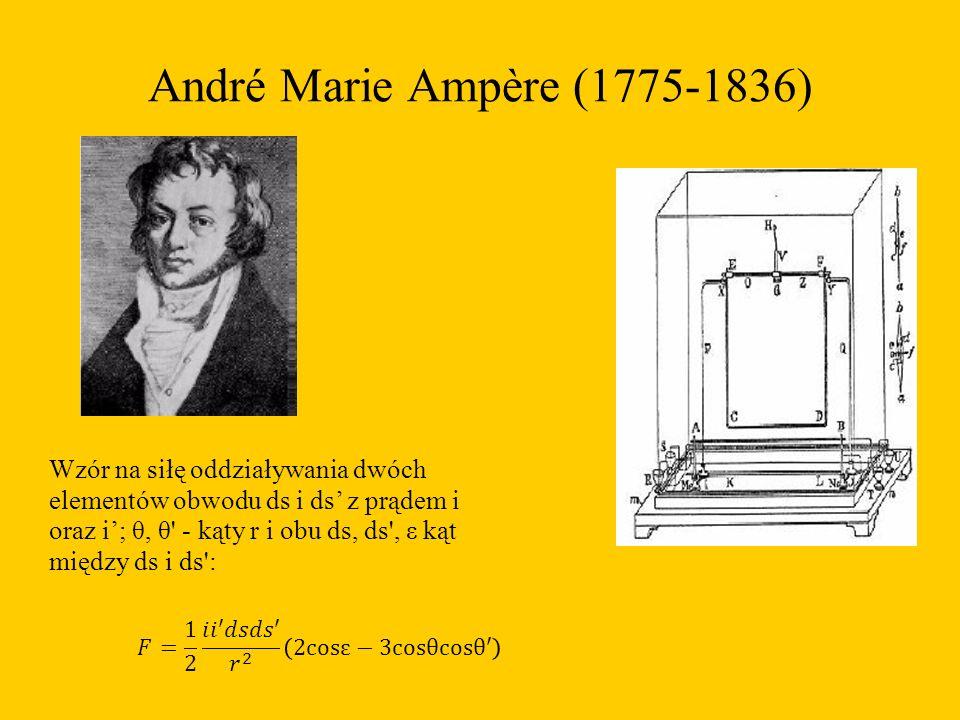 André Marie Ampère (1775-1836) Wzór na siłę oddziaływania dwóch elementów obwodu ds i ds' z prądem i oraz i'; θ, θ - kąty r i obu ds, ds , ε kąt między ds i ds :