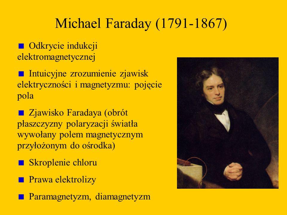Michael Faraday (1791-1867) Odkrycie indukcji elektromagnetycznej Intuicyjne zrozumienie zjawisk elektryczności i magnetyzmu: pojęcie pola Zjawisko Faradaya (obrót płaszczyzny polaryzacji światła wywołany polem magnetycznym przyłożonym do ośrodka) Skroplenie chloru Prawa elektrolizy Paramagnetyzm, diamagnetyzm
