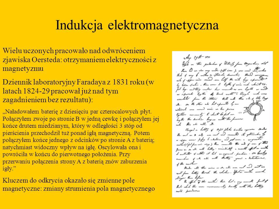 """Indukcja elektromagnetyczna Wielu uczonych pracowało nad odwróceniem zjawiska Oersteda: otrzymaniem elektryczności z magnetyzmu Dziennik laboratoryjny Faradaya z 1831 roku (w latach 1824-29 pracował już nad tym zagadnieniem bez rezultatu): """"Naładowałem baterię z dziesięciu par czterocalowych płyt."""