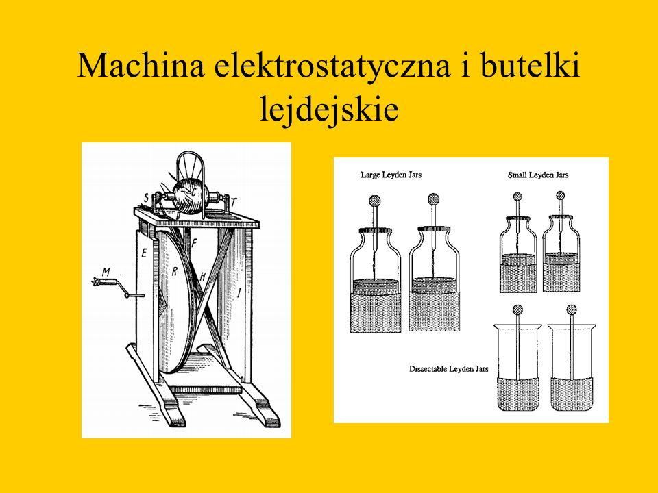 Machina elektrostatyczna i butelki lejdejskie