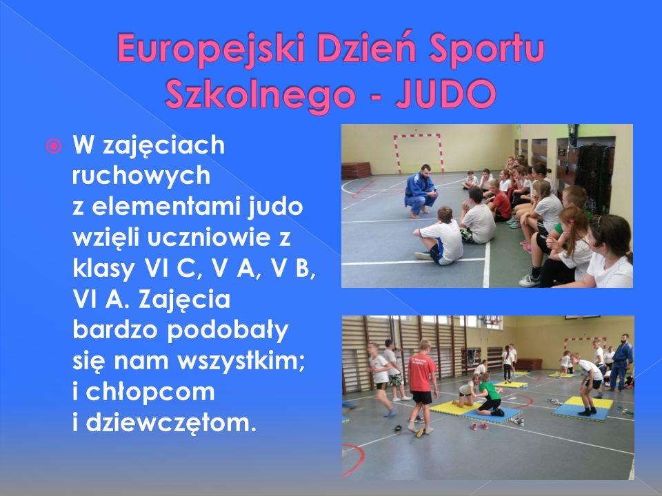  W zajęciach ruchowych z elementami judo wzięli uczniowie z klasy VI C, V A, V B, VI A.