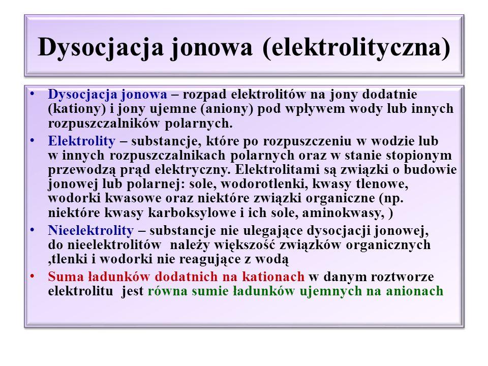 Dysocjacja jonowa, moc elektrolitu -Kwasy, zasady i sole wg Arrheniusa, -Kwasy i zasady wg teorii protonowej Br ӧ nsteda i Lowry`ego -Kwasy i zasady wg elektronowej teorii Lewisa -Stopień dysocjacji α -Kwasy, zasady i sole wg Arrheniusa, -Kwasy i zasady wg teorii protonowej Br ӧ nsteda i Lowry`ego -Kwasy i zasady wg elektronowej teorii Lewisa -Stopień dysocjacji α