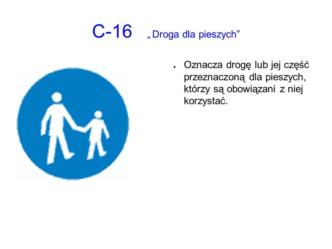 """C-16 """"Droga dla pieszych"""" ● Oznacza drogę lub jej część przeznaczoną dla pieszych, którzy są obowiązani z niej korzystać."""