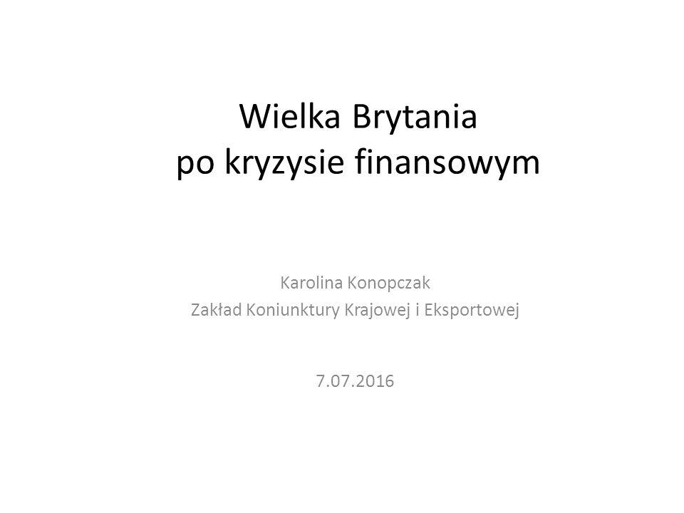 Wielka Brytania po kryzysie finansowym Karolina Konopczak Zakład Koniunktury Krajowej i Eksportowej 7.07.2016