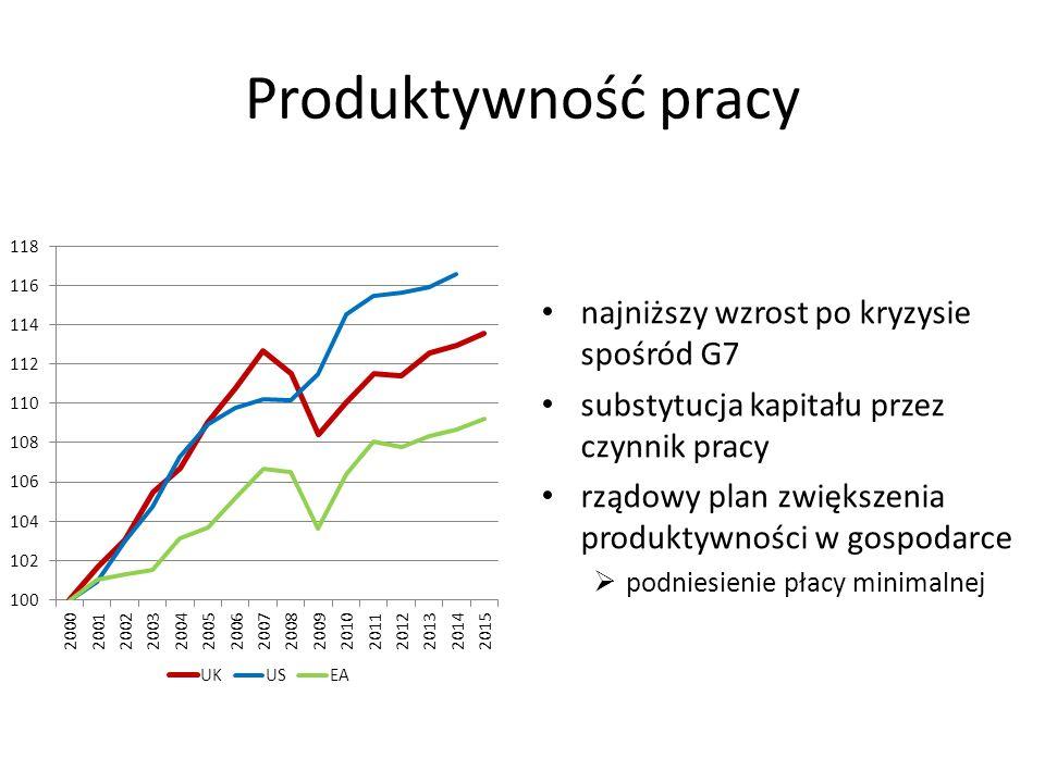 Produktywność pracy najniższy wzrost po kryzysie spośród G7 substytucja kapitału przez czynnik pracy rządowy plan zwiększenia produktywności w gospodarce  podniesienie płacy minimalnej
