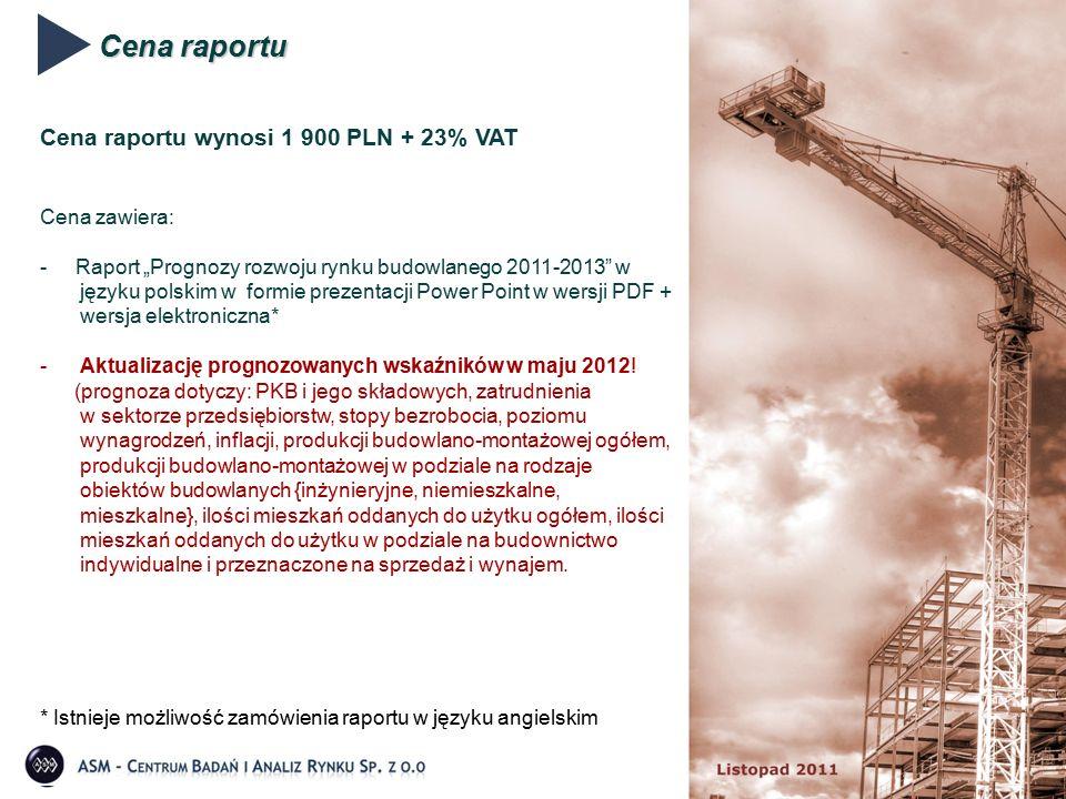 """Cena raportu Cena raportu wynosi 1 900 PLN + 23% VAT Cena zawiera: - Raport """"Prognozy rozwoju rynku budowlanego 2011-2013 w języku polskim w formie prezentacji Power Point w wersji PDF + wersja elektroniczna* -Aktualizację prognozowanych wskaźników w maju 2012."""