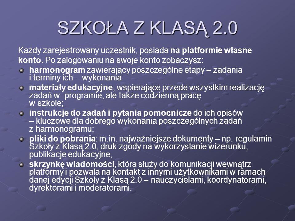 SZKOŁA Z KLASĄ 2.0 Każdy zarejestrowany uczestnik, posiada na platformie własne konto.