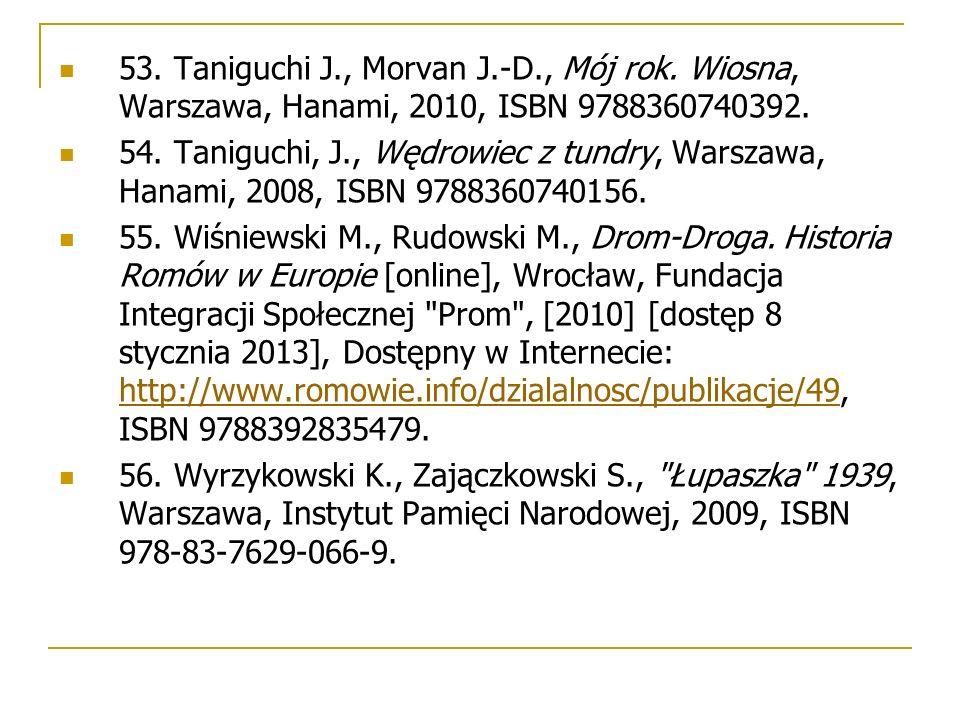 53. Taniguchi J., Morvan J.-D., Mój rok. Wiosna, Warszawa, Hanami, 2010, ISBN 9788360740392.
