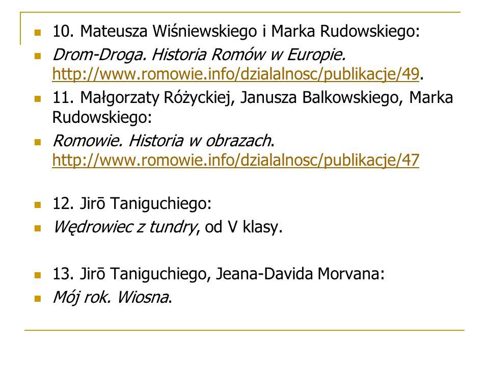 10. Mateusza Wiśniewskiego i Marka Rudowskiego: Drom-Droga. Historia Romów w Europie. http://www.romowie.info/dzialalnosc/publikacje/49. http://www.ro