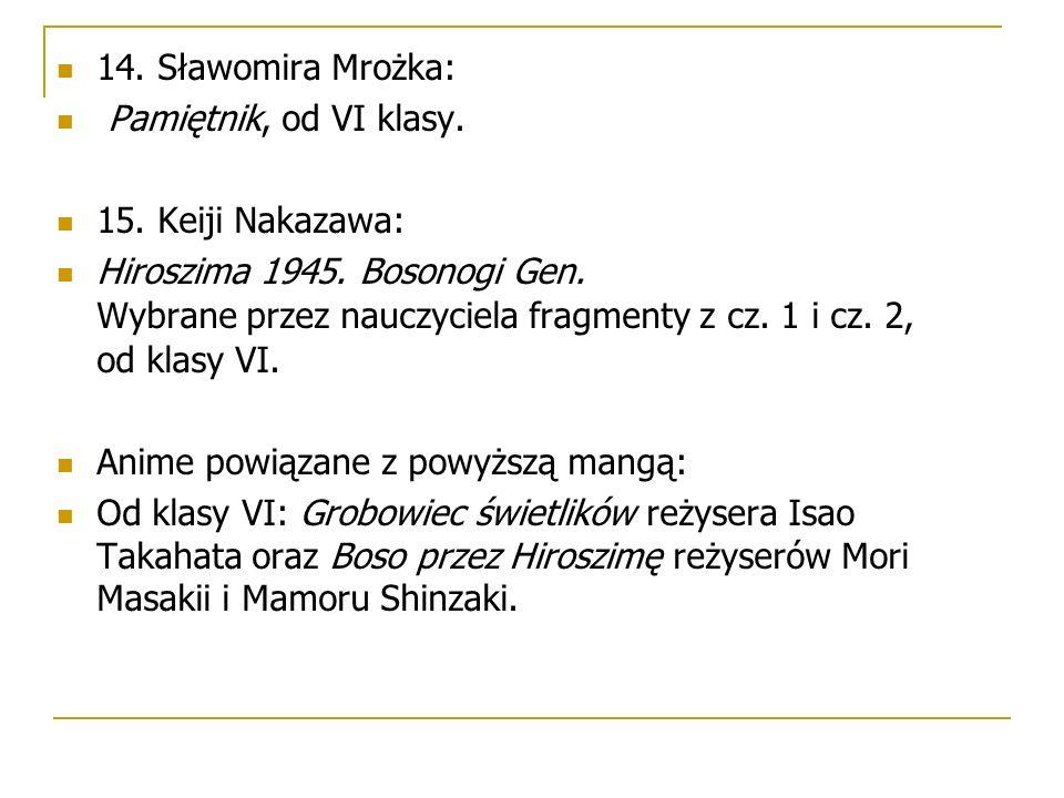 14. Sławomira Mrożka: Pamiętnik, od VI klasy. 15.