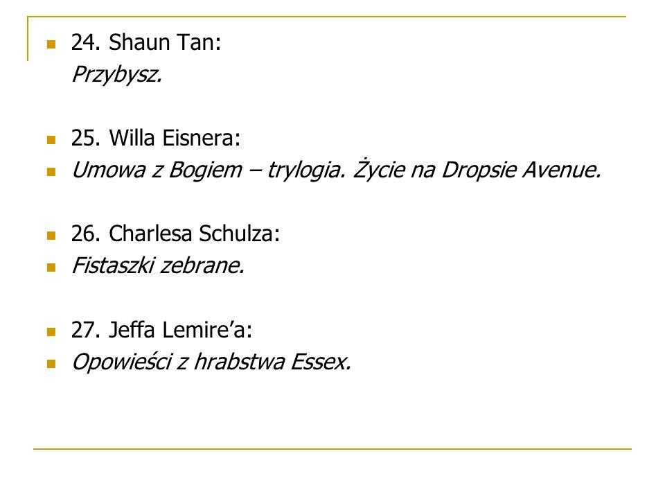 24. Shaun Tan: Przybysz. 25. Willa Eisnera: Umowa z Bogiem – trylogia. Życie na Dropsie Avenue. 26. Charlesa Schulza: Fistaszki zebrane. 27. Jeffa Lem