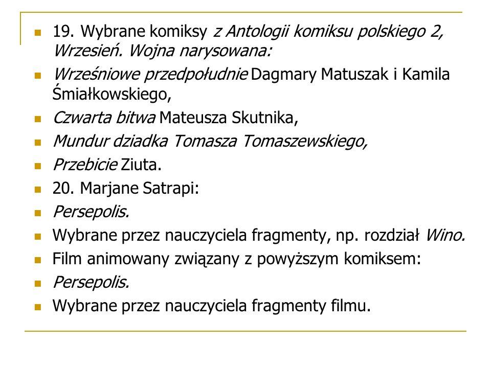 19. Wybrane komiksy z Antologii komiksu polskiego 2, Wrzesień.