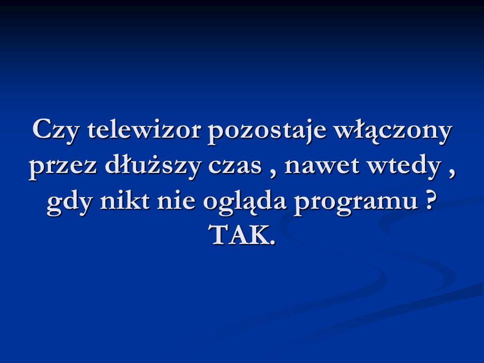 Czy telewizor pozostaje włączony przez dłuższy czas, nawet wtedy, gdy nikt nie ogląda programu .