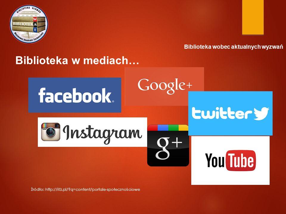 Biblioteka w mediach… Źródło: http://it3.pl/?q=content/portale-społecznościowe Biblioteka wobec aktualnych wyzwań