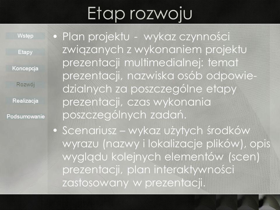 Etap rozwoju Plan projektu - wykaz czynności związanych z wykonaniem projektu prezentacji multimedialnej: temat prezentacji, nazwiska osób odpowie- dzialnych za poszczególne etapy prezentacji, czas wykonania poszczególnych zadań.