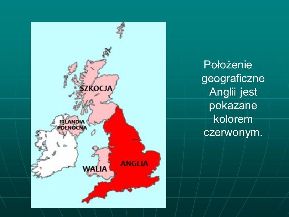 Położenie geograficzne Anglii jest pokazane kolorem czerwonym.