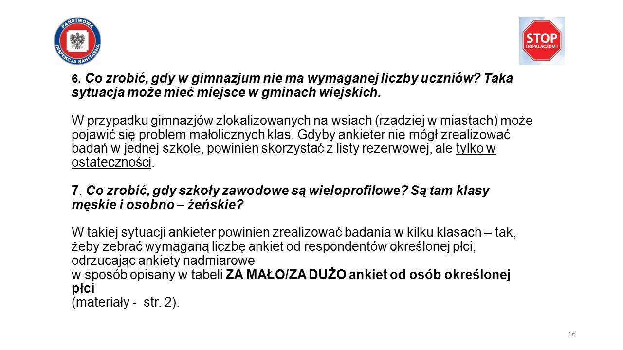 6. Co zrobić, gdy w gimnazjum nie ma wymaganej liczby uczniów.