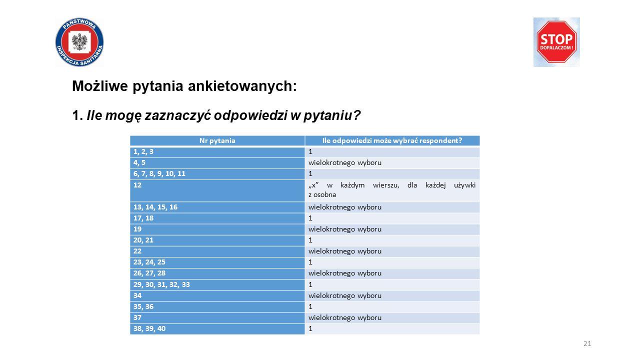 Możliwe pytania ankietowanych: 1. Ile mogę zaznaczyć odpowiedzi w pytaniu? Nr pytaniaIle odpowiedzi może wybrać respondent? 1, 2, 31 4, 5wielokrotnego