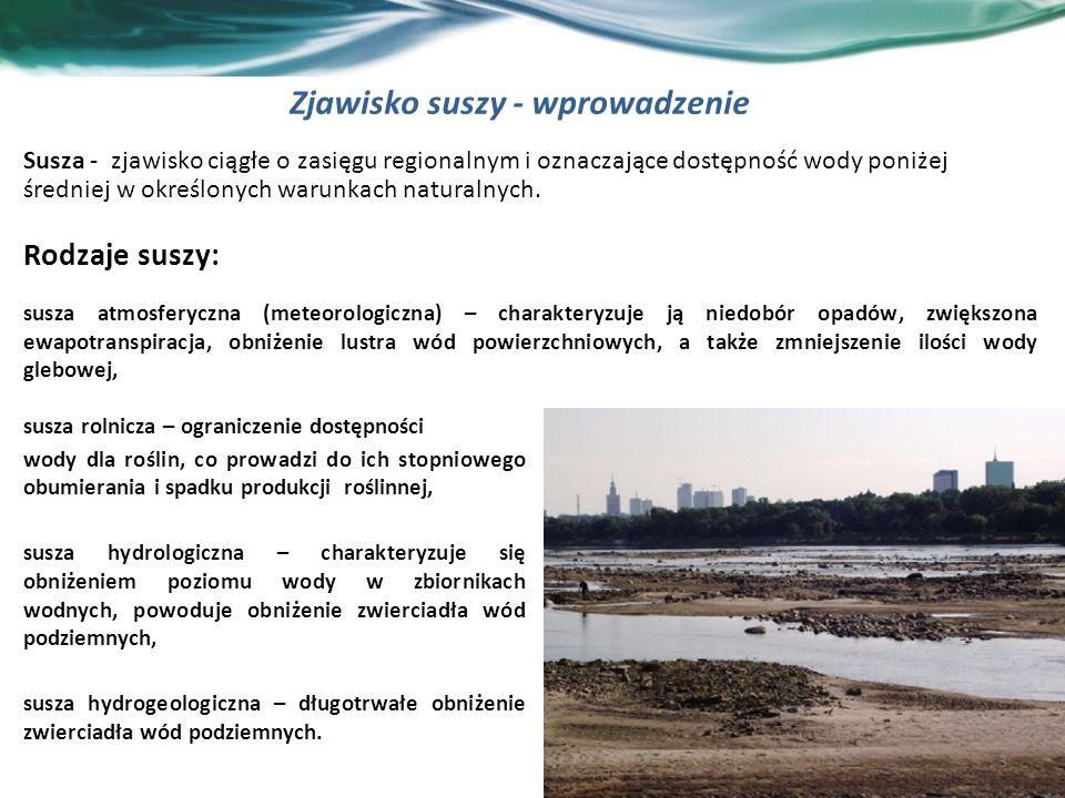 Zjawisko suszy - wprowadzenie 3 Susza - zjawisko ciągłe o zasięgu regionalnym i oznaczające dostępność wody poniżej średniej w określonych warunkach naturalnych.