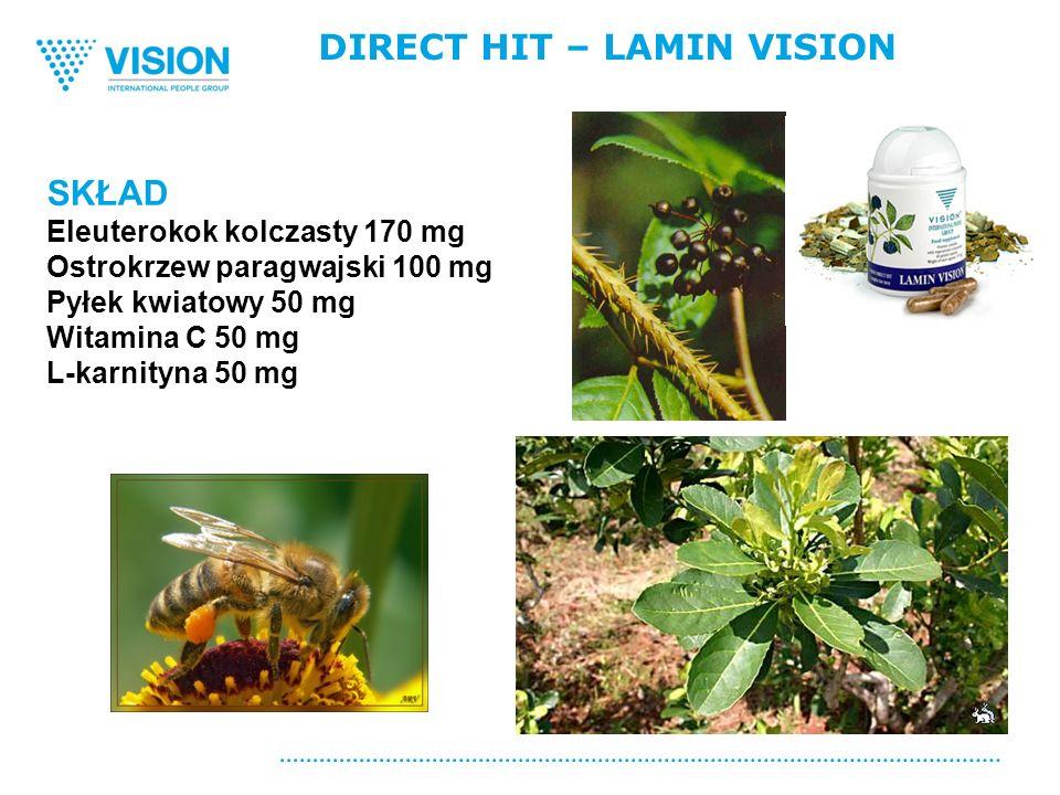 DIRECT HIT – LAMIN VISION SKŁAD Eleuterokok kolczasty 170 mg Ostrokrzew paragwajski 100 mg Pyłek kwiatowy 50 mg Witamina C 50 mg L-karnityna 50 mg