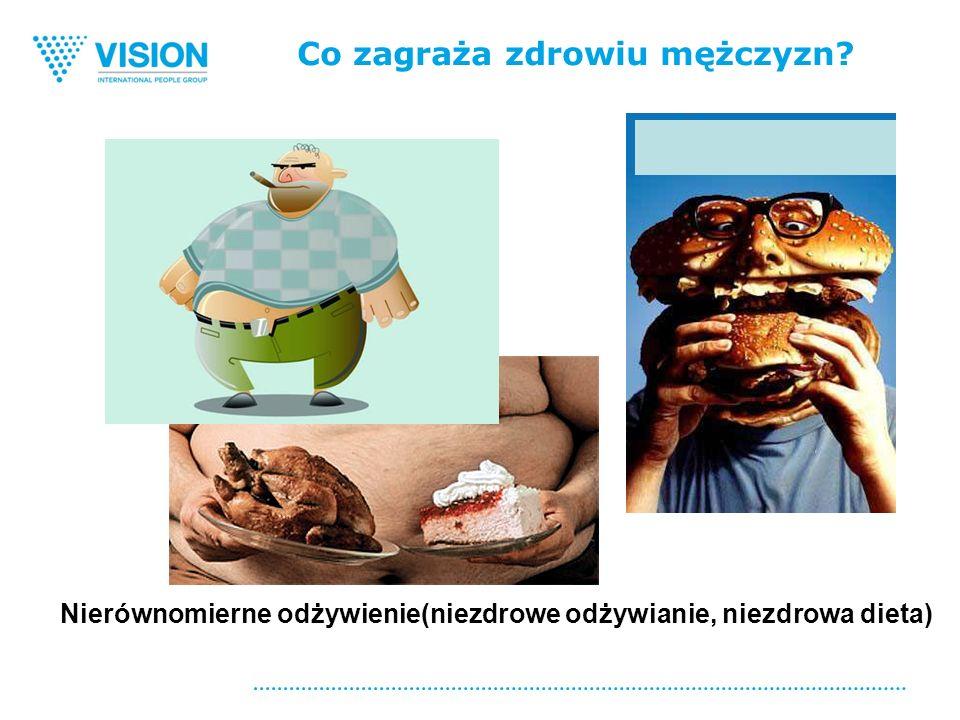 Co zagraża zdrowiu mężczyzn Nierównomierne odżywienie(niezdrowe odżywianie, niezdrowa dieta)