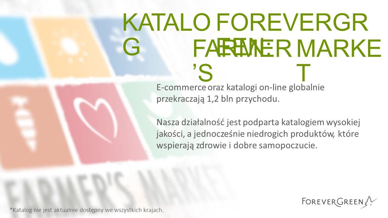 KATALO G FOREVERGR EEN: FARMER 'S MARKE T E-commerce oraz katalogi on-line globalnie przekraczają 1,2 bln przychodu. Nasza działalność jest podparta k