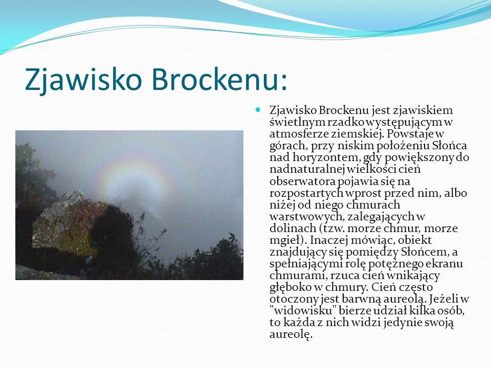 Zjawisko Brockenu: Zjawisko Brockenu jest zjawiskiem świetlnym rzadko występującym w atmosferze ziemskiej. Powstaje w górach, przy niskim położeniu Sł