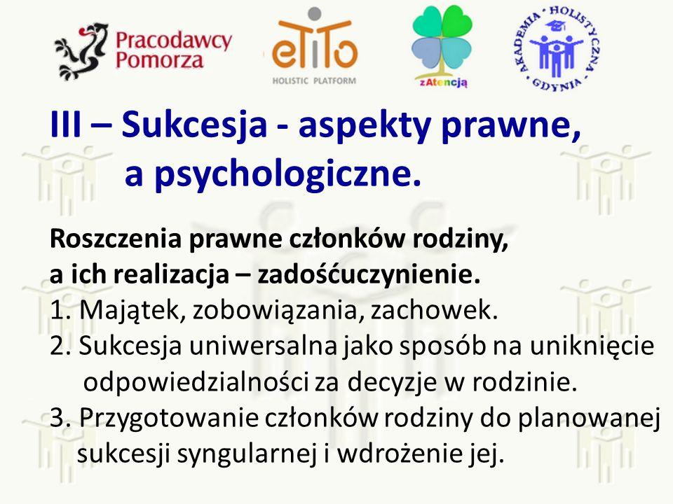 III – Sukcesja - aspekty prawne, a psychologiczne.