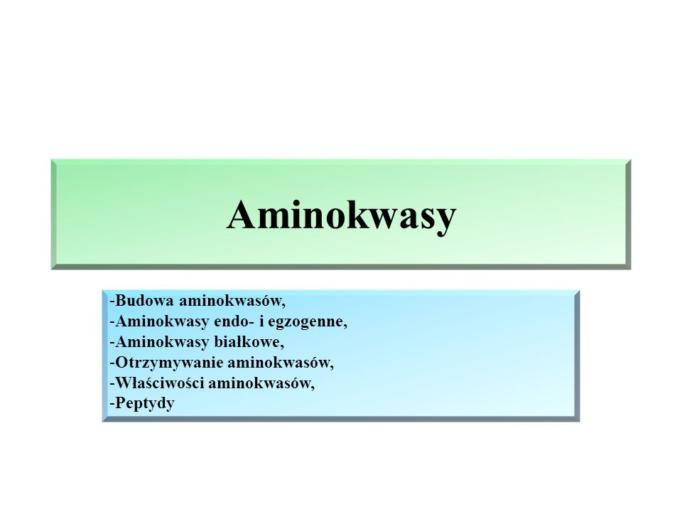 Aminokwasy -Budowa aminokwasów, -Aminokwasy endo- i egzogenne, -Aminokwasy białkowe, -Otrzymywanie aminokwasów, -Właściwości aminokwasów, -Peptydy