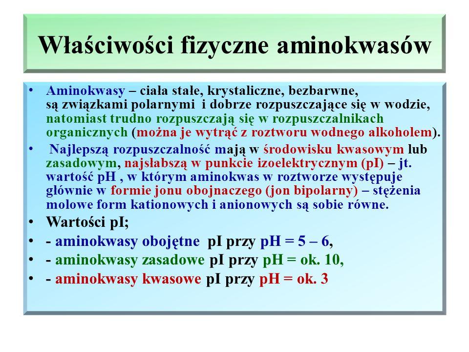 Ważniejsze aminokwasy białkowe Nazwa zwyczajowa Umowny symbol Wzór grupowy Aminokwasy kwasowe Kwas asparginowy AspHOOC – CH 2 – CH – COOH | NH 2 Kwas