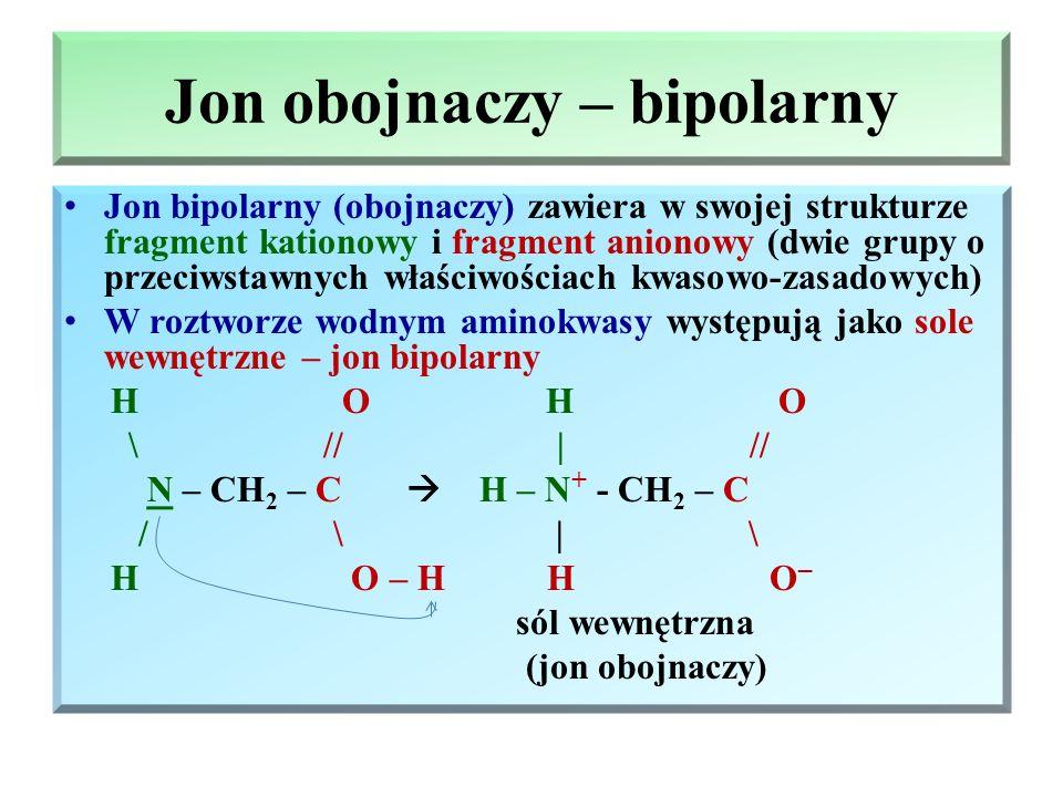 Właściwości fizyczne aminokwasów Aminokwasy – ciała stałe, krystaliczne, bezbarwne, są związkami polarnymi i dobrze rozpuszczające się w wodzie, natom