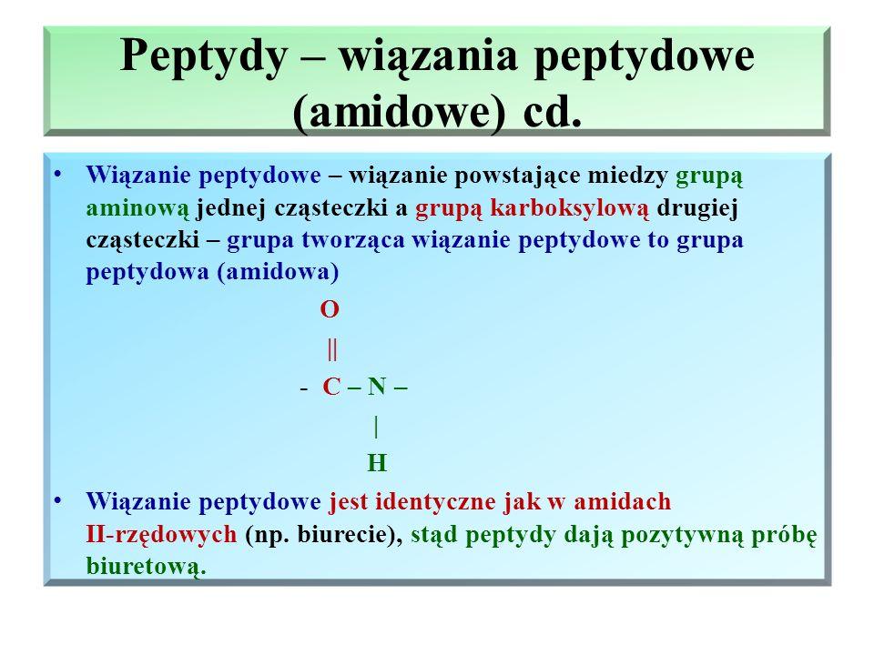 Peptydy – wiązania peptydowe (amidowe) Aminokwasy mogą reagować między sobą – grupa aminowa jednego aminokwasu z grupą karboksylową drugiego aminokwas
