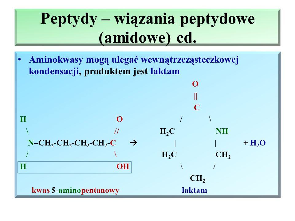 Peptydy – wiązania peptydowe (amidowe) cd. Wiązanie peptydowe – wiązanie powstające miedzy grupą aminową jednej cząsteczki a grupą karboksylową drugie