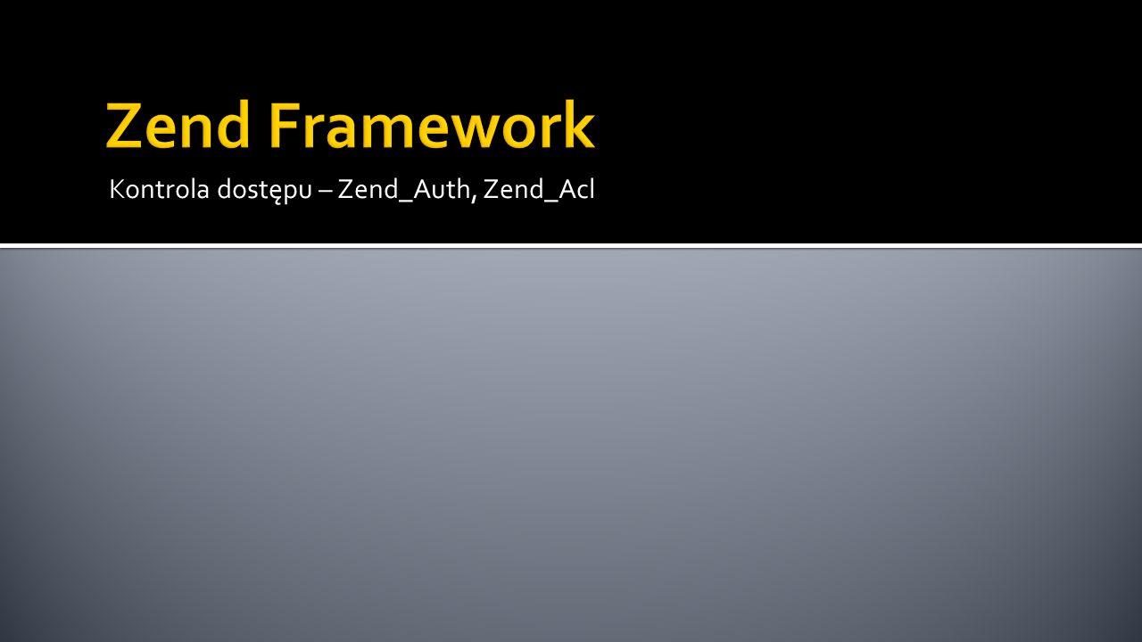 public function preDispatch(Zend_Controller_Request_Abstract $request) { // Przygotuj ACL $acl = new Zend_Acl(); $acl->addRole(new Zend_Acl_Role( guest )); $acl->addRole(new Zend_Acl_Role( user ), guest ); $acl->addRole(new Zend_Acl_Role( admin ), user ); $acl->addResource(new Zend_Acl_Resource( index )); $acl->addResource(new Zend_Acl_Resource( error )); $acl->addResource(new Zend_Acl_Resource( uzytkownicy )); $acl->allow( guest , index , index ); $acl->allow( guest , index , pokaz ); $acl->allow( guest , uzytkownicy , login ); $acl->allow( user , index , dodaj ); $acl->allow( user , index , edytuj ); $acl->allow( user , index , usun ); $acl->allow( user , uzytkownicy , logout ); $acl->allow( admin , null); // Przeprowadź autoryzację...