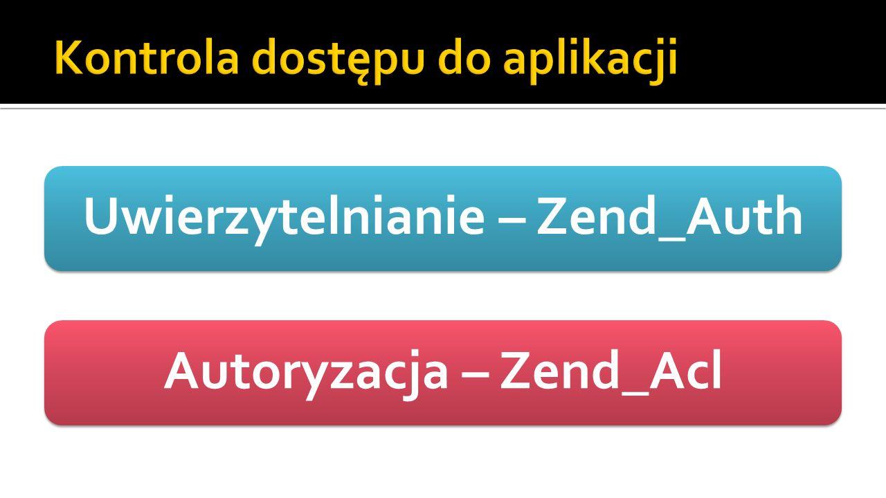 Uwierzytelnianie – Zend_AuthAutoryzacja – Zend_Acl