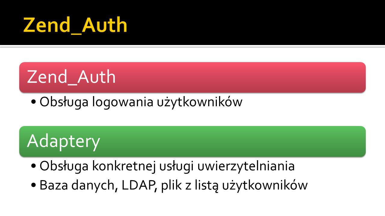 Zend_Auth Obsługa logowania użytkowników Adaptery Obsługa konkretnej usługi uwierzytelniania Baza danych, LDAP, plik z listą użytkowników