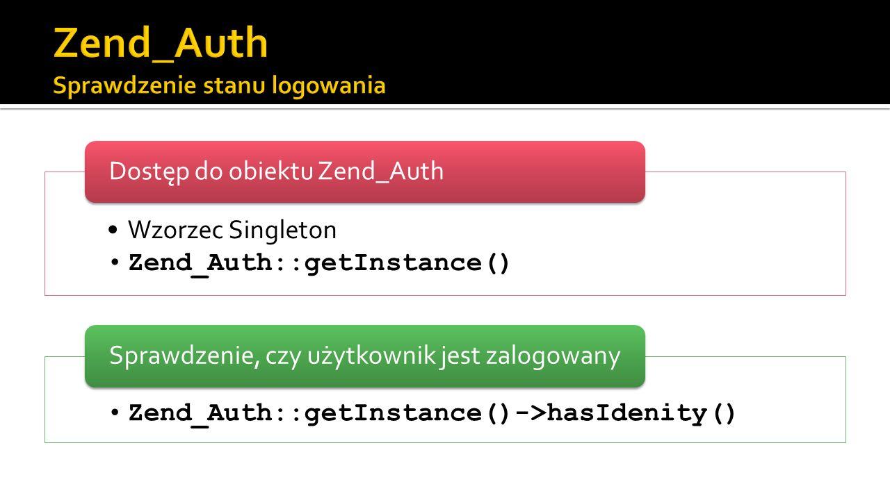 Wzorzec Singleton Zend_Auth::getInstance() Dostęp do obiektu Zend_Auth Zend_Auth::getInstance()->hasIdenity() Sprawdzenie, czy użytkownik jest zalogow