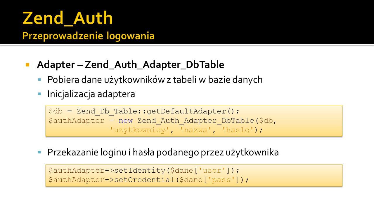 Adapter – Zend_Auth_Adapter_DbTable  Pobiera dane użytkowników z tabeli w bazie danych  Inicjalizacja adaptera  Przekazanie loginu i hasła podanego przez użytkownika $db = Zend_Db_Table::getDefaultAdapter(); $authAdapter = new Zend_Auth_Adapter_DbTable($db, uzytkownicy , nazwa , haslo ); $db = Zend_Db_Table::getDefaultAdapter(); $authAdapter = new Zend_Auth_Adapter_DbTable($db, uzytkownicy , nazwa , haslo ); $authAdapter->setIdentity($dane[ user ]); $authAdapter->setCredential($dane[ pass ]);