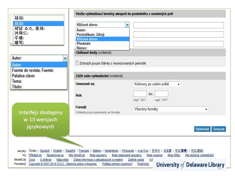 Interfejs dostępny w 13 wersjach językowych 16