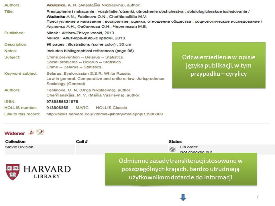 Odmienne zasady transliteracji stosowane w poszczególnych krajach, bardzo utrudniają użytkownikom dotarcie do informacji Odzwierciedlenie w opisie jęz