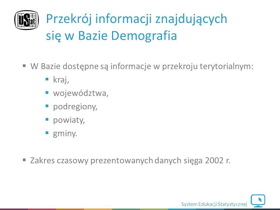 System Edukacji Statystycznej  W Bazie dostępne są informacje w przekroju terytorialnym:  kraj,  województwa,  podregiony,  powiaty,  gminy.